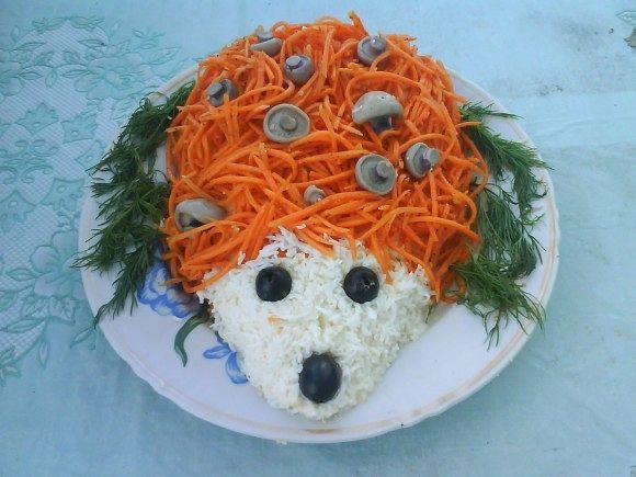 Салат ежик с корейской морковкойы